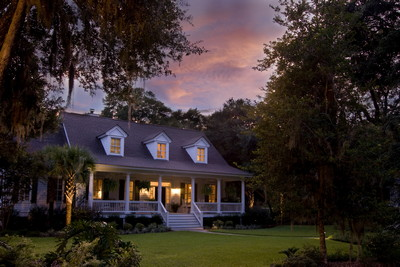 Classic American home at sunset